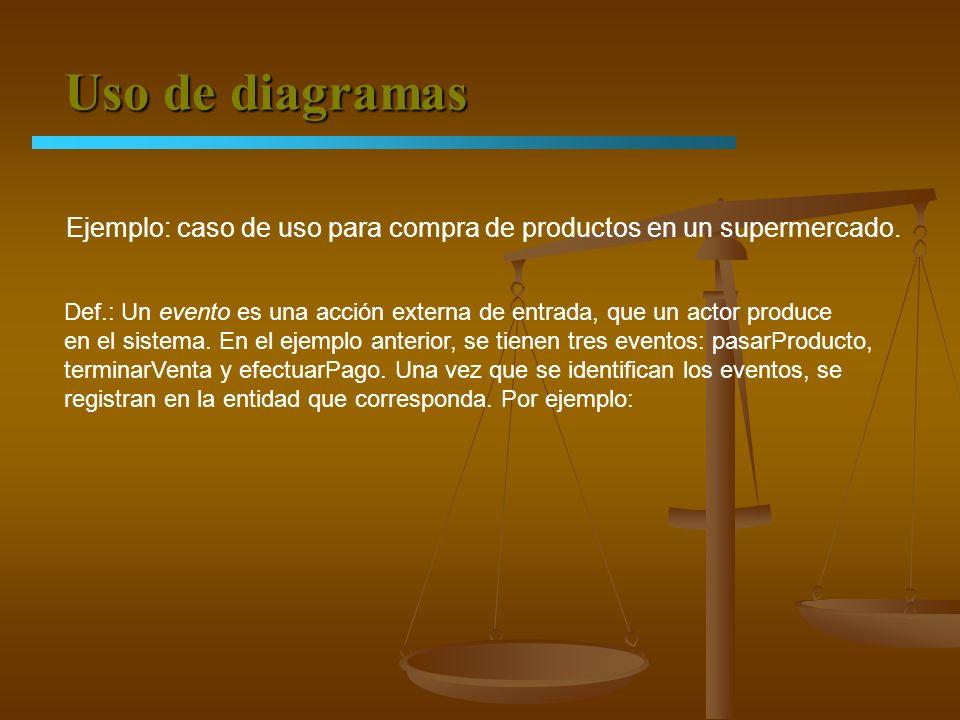 Uso de diagramas Ejemplo: caso de uso para compra de productos en un supermercado. Def.: Un evento es una acción externa de entrada, que un actor prod