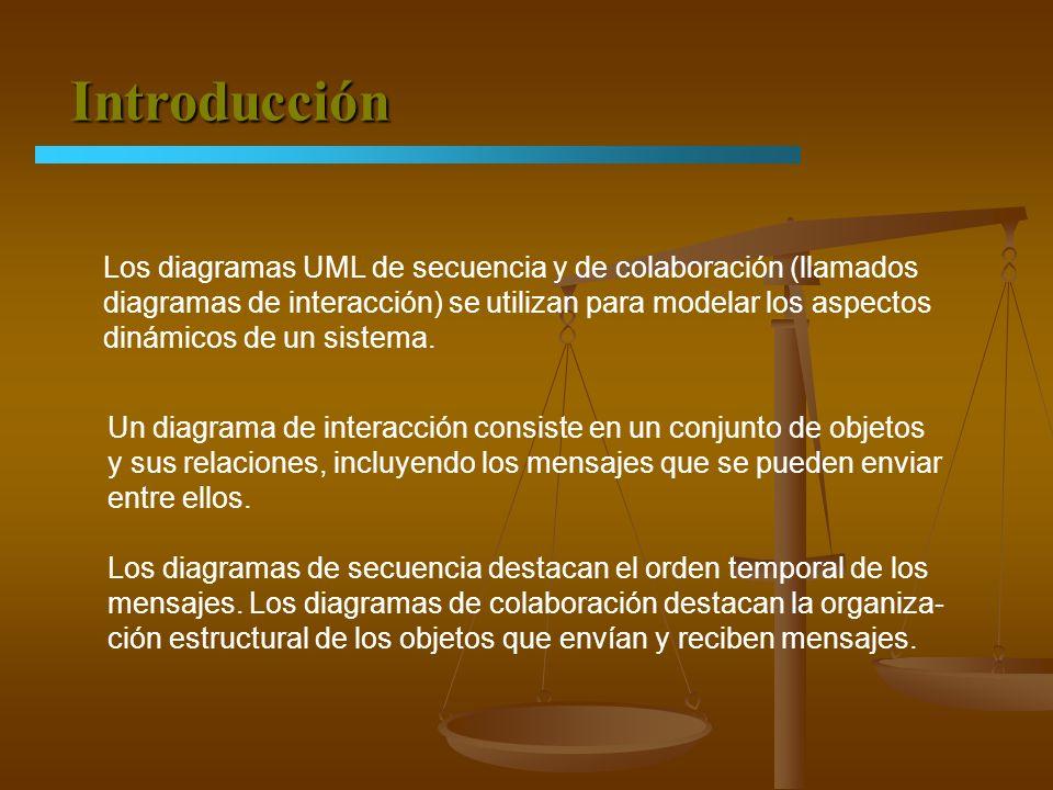 Introducción Los diagramas UML de secuencia y de colaboración (llamados diagramas de interacción) se utilizan para modelar los aspectos dinámicos de u