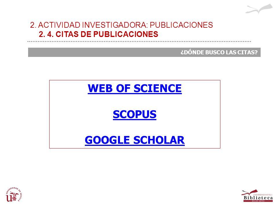 2. ACTIVIDAD INVESTIGADORA: PUBLICACIONES 2. 4. CITAS DE PUBLICACIONES ¿DÓNDE BUSCO LAS CITAS? WEB OF SCIENCE SCOPUS GOOGLE SCHOLAR