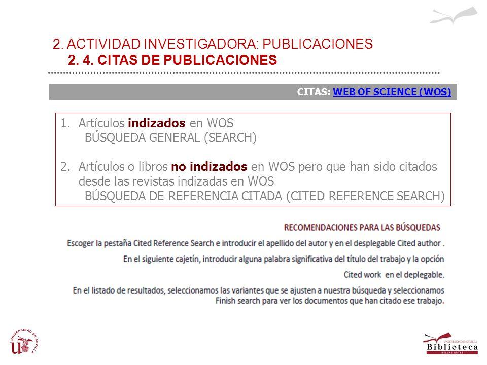 2. ACTIVIDAD INVESTIGADORA: PUBLICACIONES 2. 4. CITAS DE PUBLICACIONES CITAS: WEB OF SCIENCE (WOS)WEB OF SCIENCE (WOS) 1.Artículos indizados en WOS BÚ