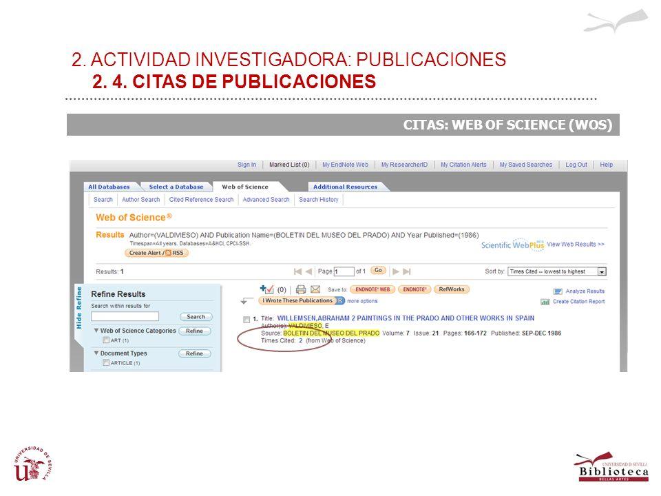 2. ACTIVIDAD INVESTIGADORA: PUBLICACIONES 2. 4. CITAS DE PUBLICACIONES CITAS: WEB OF SCIENCE (WOS)