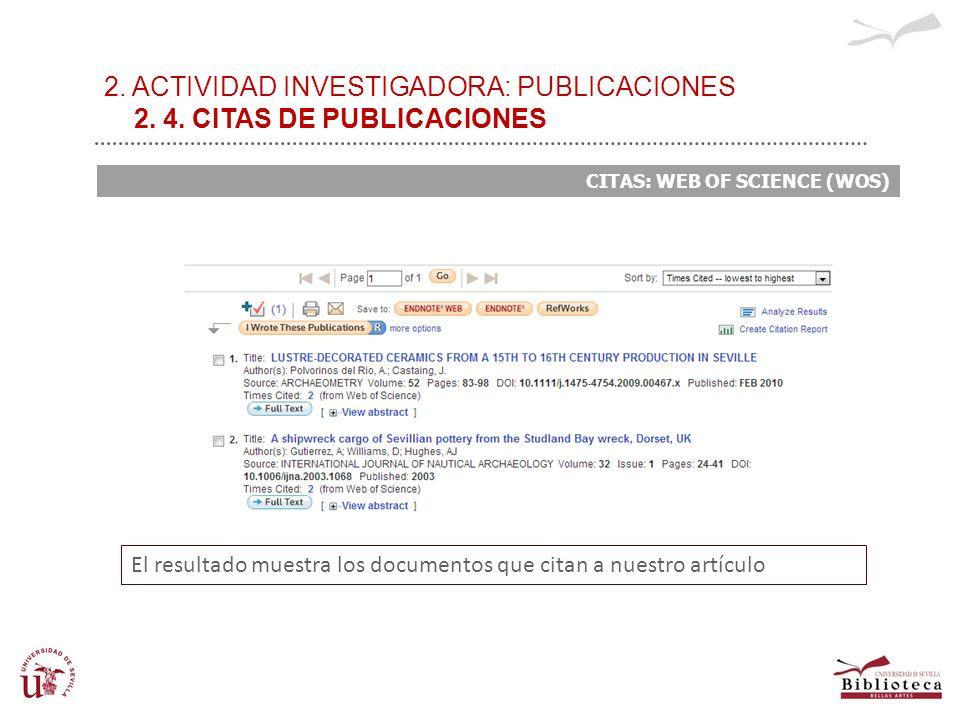 2. ACTIVIDAD INVESTIGADORA: PUBLICACIONES 2. 4. CITAS DE PUBLICACIONES CITAS: WEB OF SCIENCE (WOS) El resultado muestra los documentos que citan a nue