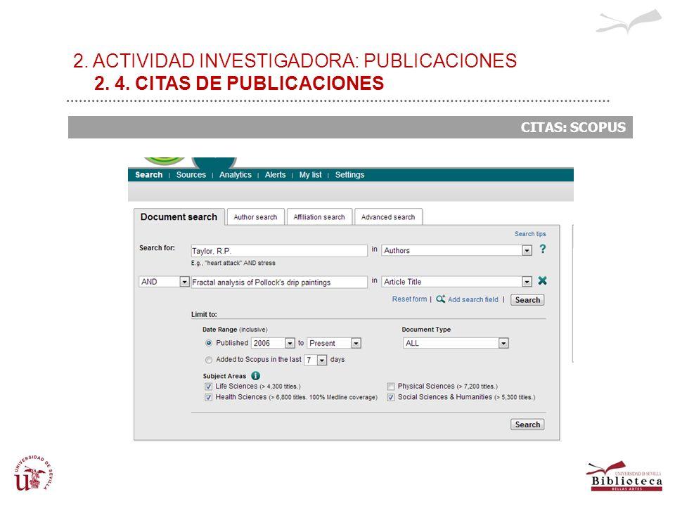 2. ACTIVIDAD INVESTIGADORA: PUBLICACIONES 2. 4. CITAS DE PUBLICACIONES CITAS: SCOPUS