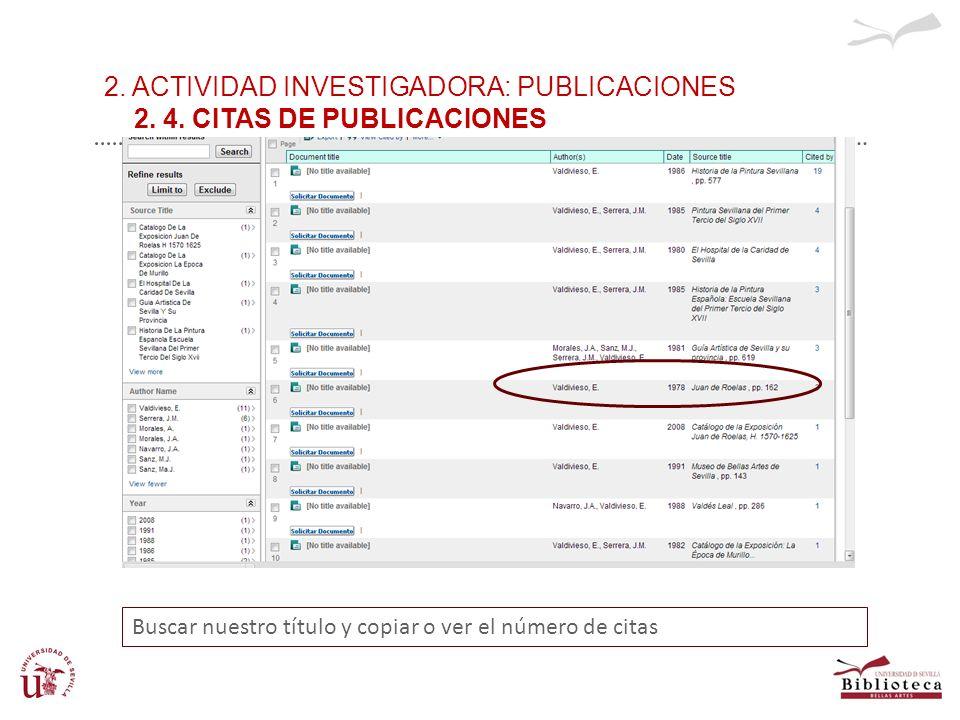2. ACTIVIDAD INVESTIGADORA: PUBLICACIONES 2. 4. CITAS DE PUBLICACIONES Buscar nuestro título y copiar o ver el número de citas
