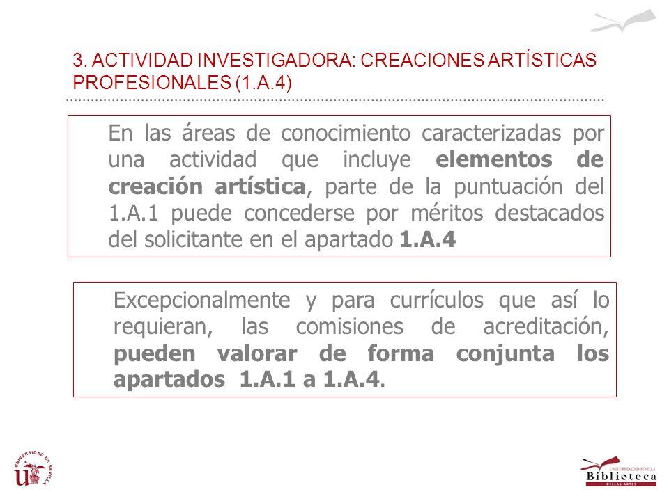 3. ACTIVIDAD INVESTIGADORA: CREACIONES ARTÍSTICAS PROFESIONALES (1.A.4) En las áreas de conocimiento caracterizadas por una actividad que incluye elem