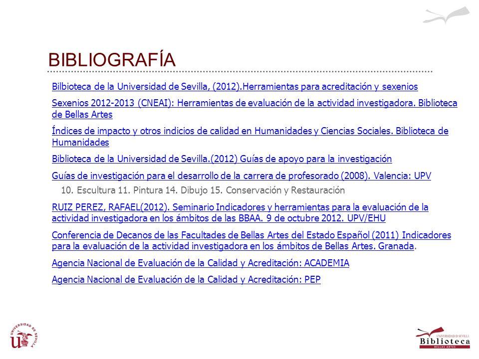 BIBLIOGRAFÍA Bilbioteca de la Universidad de Sevilla, (2012).Herramientas para acreditación y sexenios Sexenios 2012-2013 (CNEAI): Herramientas de eva