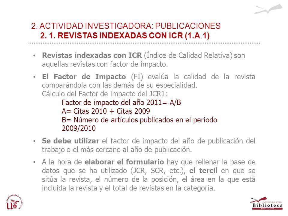 2. ACTIVIDAD INVESTIGADORA: PUBLICACIONES 2. 1. REVISTAS INDEXADAS CON ICR (1.A.1) REVISTAS CON ÍNDICE DE CALIDAD RELATIVO Revistas indexadas con ICR