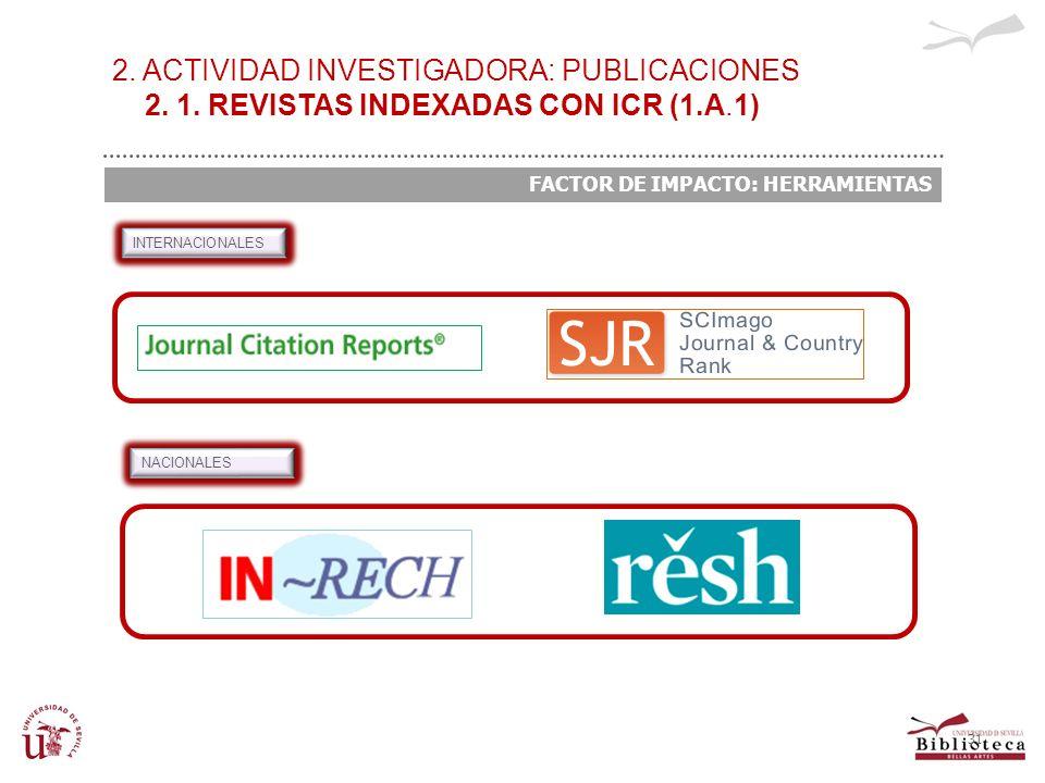 31 INTERNACIONALES NACIONALES 2. ACTIVIDAD INVESTIGADORA: PUBLICACIONES 2. 1. REVISTAS INDEXADAS CON ICR (1.A.1) FACTOR DE IMPACTO: HERRAMIENTAS