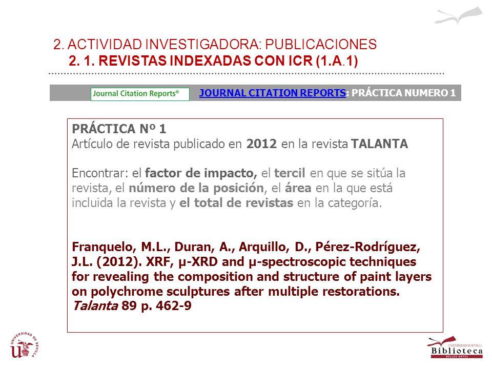 2. ACTIVIDAD INVESTIGADORA: PUBLICACIONES 2. 1. REVISTAS INDEXADAS CON ICR (1.A.1) PRÁCTICA Nº 1 Artículo de revista publicado en 2012 en la revista T
