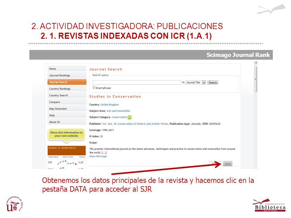 2. ACTIVIDAD INVESTIGADORA: PUBLICACIONES 2. 1. REVISTAS INDEXADAS CON ICR (1.A.1) Scimago Journal Rank Obtenemos los datos principales de la revista