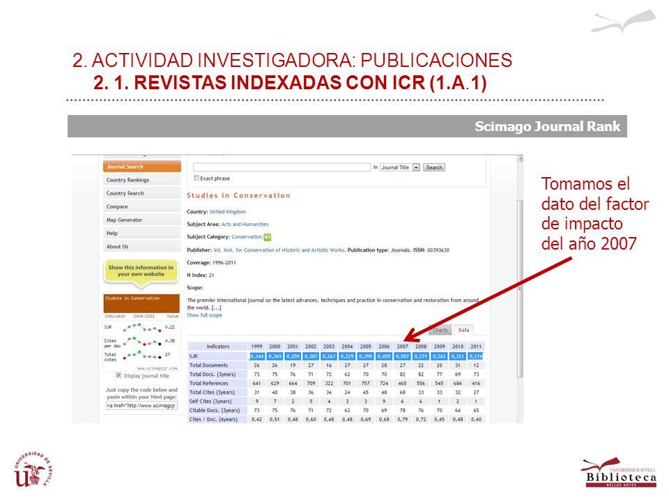 2. ACTIVIDAD INVESTIGADORA: PUBLICACIONES 2. 1. REVISTAS INDEXADAS CON ICR (1.A.1) Scimago Journal Rank Tomamos el dato del factor de impacto del año