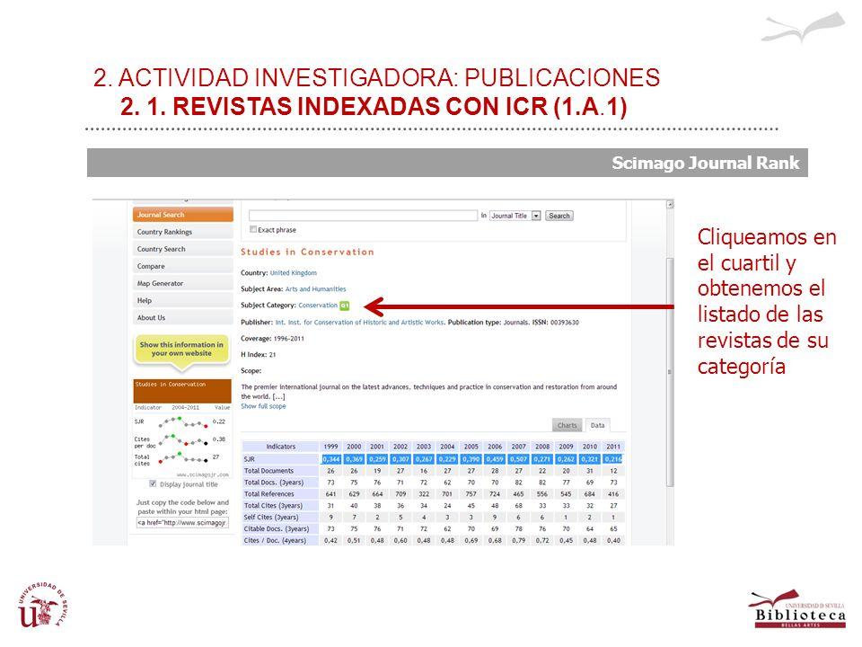 2. ACTIVIDAD INVESTIGADORA: PUBLICACIONES 2. 1. REVISTAS INDEXADAS CON ICR (1.A.1) Scimago Journal Rank Cliqueamos en el cuartil y obtenemos el listad