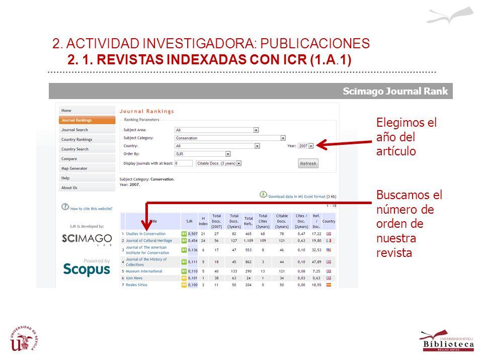 2. ACTIVIDAD INVESTIGADORA: PUBLICACIONES 2. 1. REVISTAS INDEXADAS CON ICR (1.A.1) Scimago Journal Rank Elegimos el año del artículo Buscamos el númer