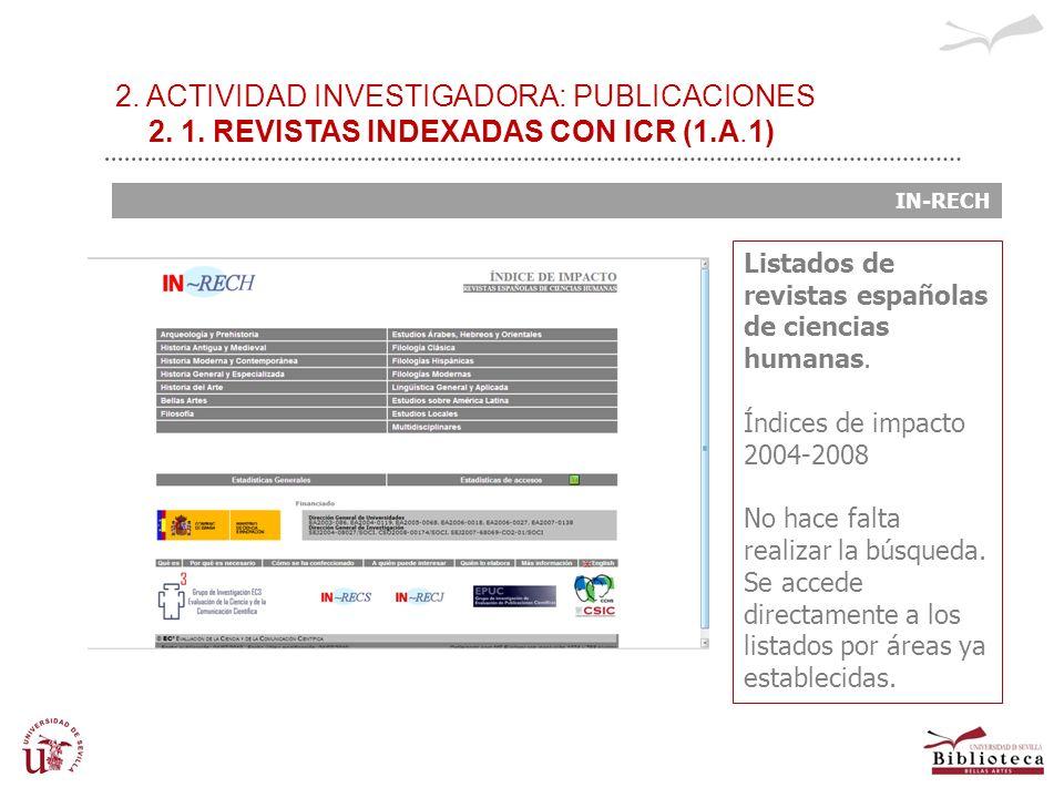 2. ACTIVIDAD INVESTIGADORA: PUBLICACIONES 2. 1. REVISTAS INDEXADAS CON ICR (1.A.1) IN-RECH Listados de revistas españolas de ciencias humanas. Índices