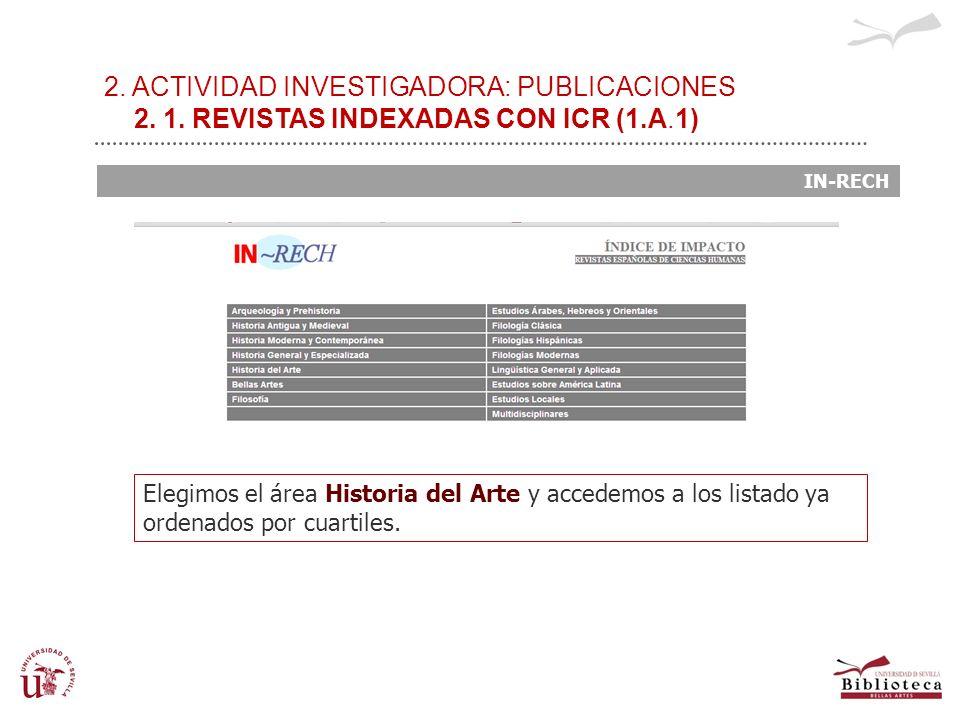 2. ACTIVIDAD INVESTIGADORA: PUBLICACIONES 2. 1. REVISTAS INDEXADAS CON ICR (1.A.1) IN-RECH Elegimos el área Historia del Arte y accedemos a los listad