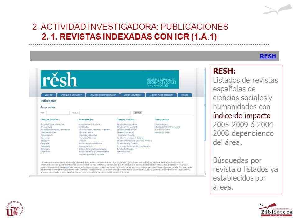 2. ACTIVIDAD INVESTIGADORA: PUBLICACIONES 2. 1. REVISTAS INDEXADAS CON ICR (1.A.1) RESH RESH: Listados de revistas españolas de ciencias sociales y hu