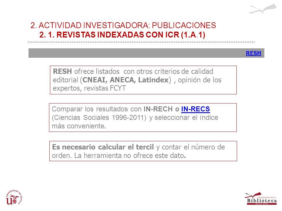 2. ACTIVIDAD INVESTIGADORA: PUBLICACIONES 2. 1. REVISTAS INDEXADAS CON ICR (1.A.1) RESH Comparar los resultados con IN-RECH o IN-RECSIN-RECS (Ciencias