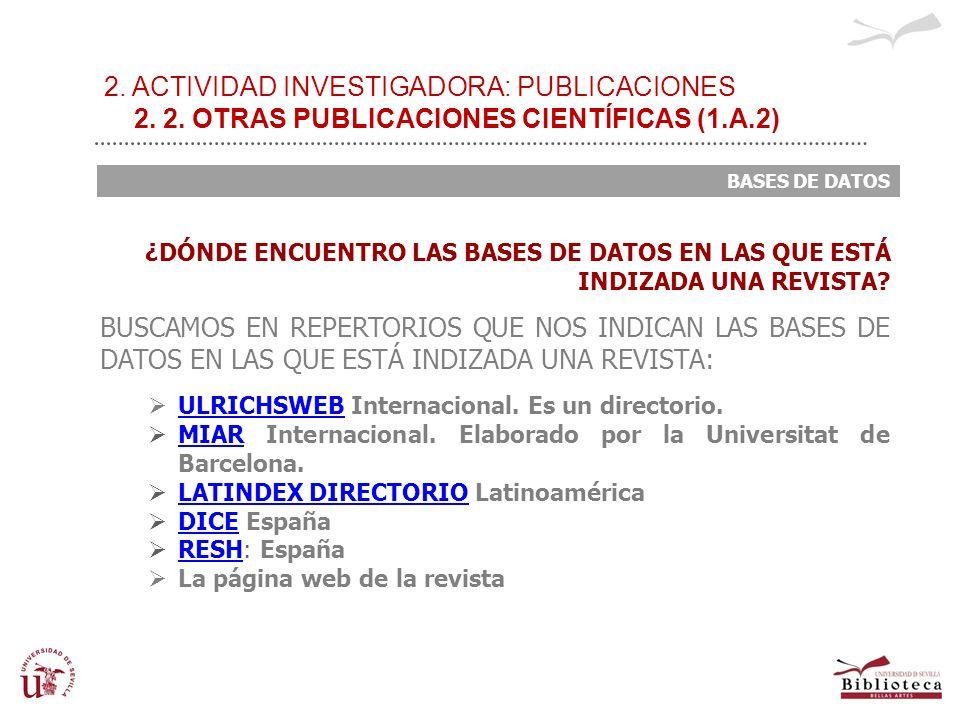 2. ACTIVIDAD INVESTIGADORA: PUBLICACIONES 2. 2. OTRAS PUBLICACIONES CIENTÍFICAS (1.A.2) BASES DE DATOS ¿DÓNDE ENCUENTRO LAS BASES DE DATOS EN LAS QUE