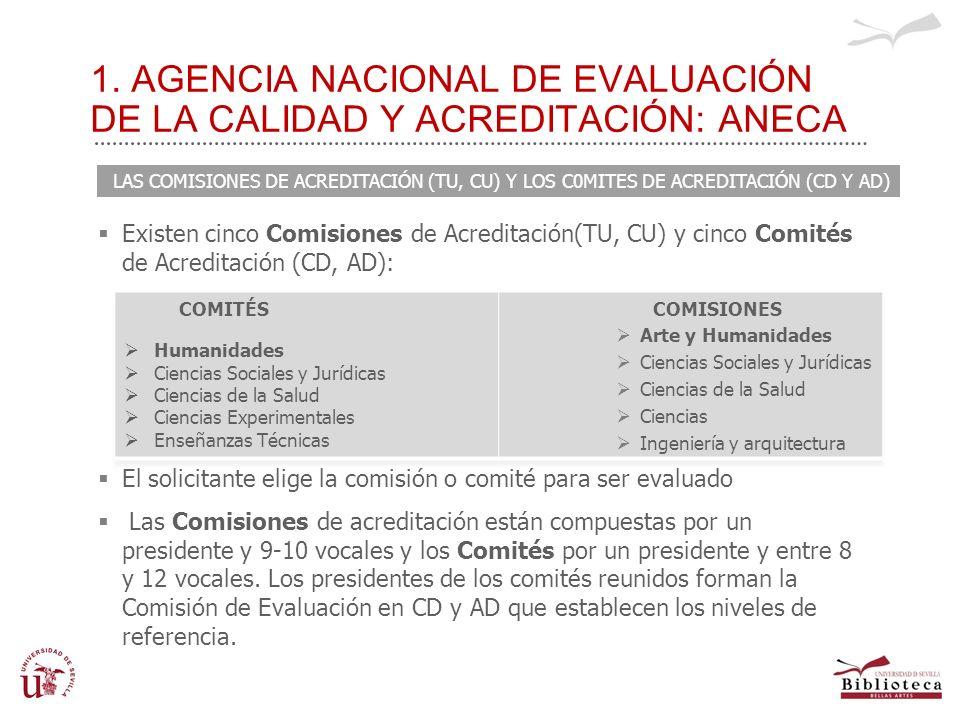 1. AGENCIA NACIONAL DE EVALUACIÓN DE LA CALIDAD Y ACREDITACIÓN: ANECA Existen cinco Comisiones de Acreditación(TU, CU) y cinco Comités de Acreditación