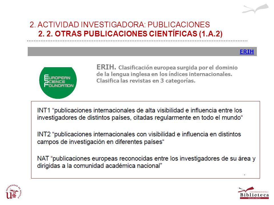 2. ACTIVIDAD INVESTIGADORA: PUBLICACIONES 2. 2. OTRAS PUBLICACIONES CIENTÍFICAS (1.A.2) ERIH ERIH. Clasificación europea surgida por el dominio de la