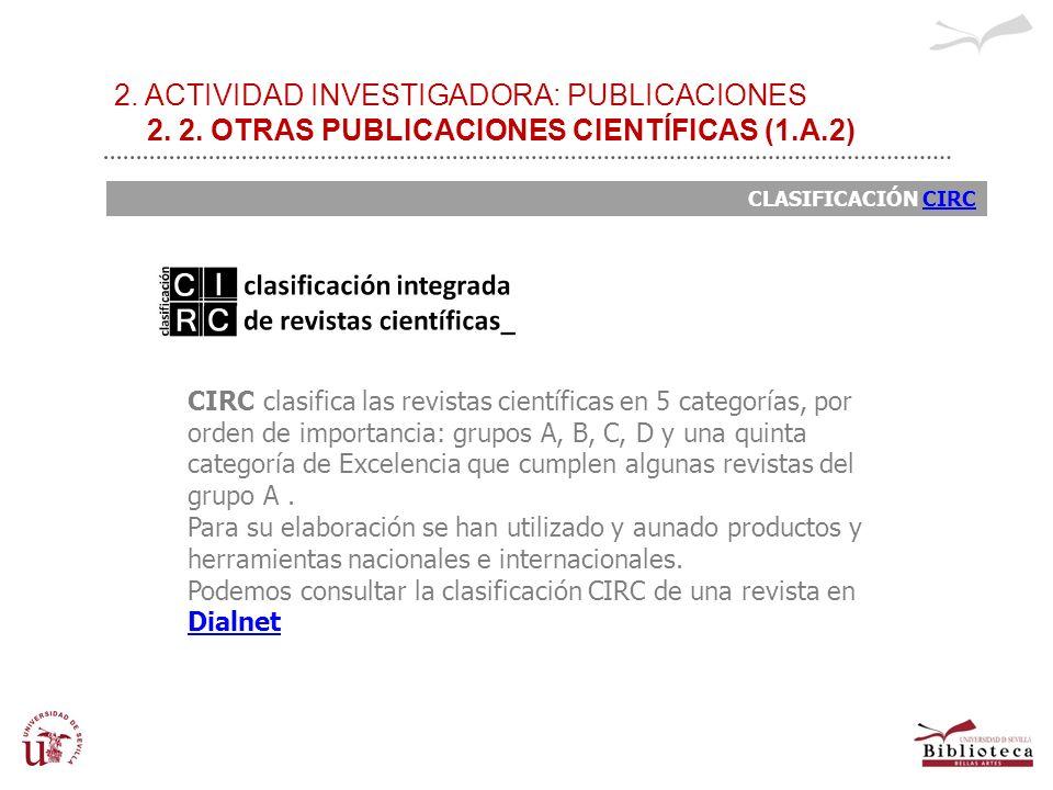 2. ACTIVIDAD INVESTIGADORA: PUBLICACIONES 2. 2. OTRAS PUBLICACIONES CIENTÍFICAS (1.A.2) CLASIFICACIÓN CIRCCIRC CIRC clasifica las revistas científicas