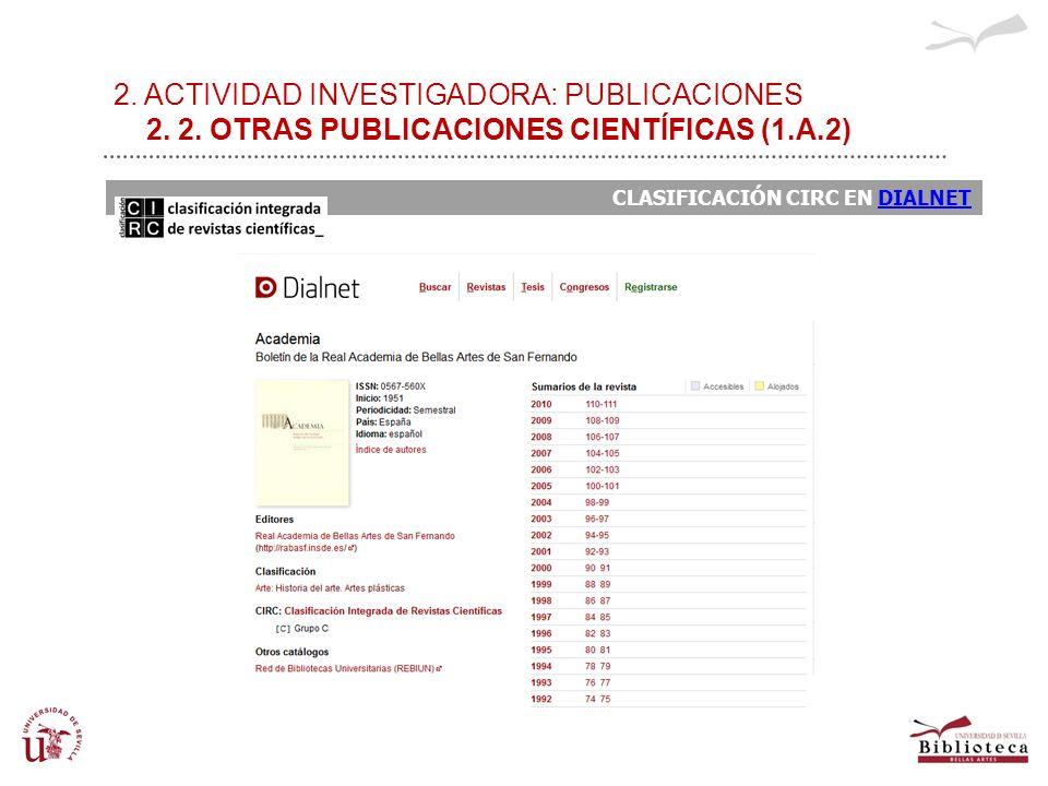 2. ACTIVIDAD INVESTIGADORA: PUBLICACIONES 2. 2. OTRAS PUBLICACIONES CIENTÍFICAS (1.A.2) CLASIFICACIÓN CIRC EN DIALNETDIALNET