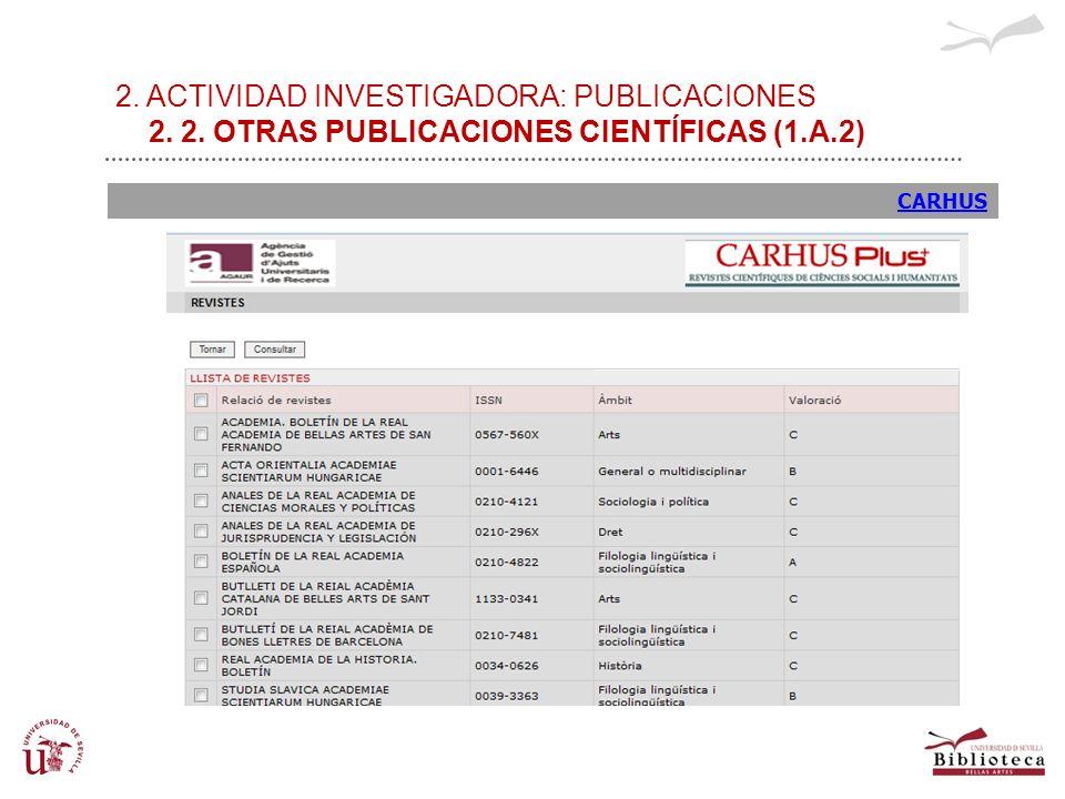 2. ACTIVIDAD INVESTIGADORA: PUBLICACIONES 2. 2. OTRAS PUBLICACIONES CIENTÍFICAS (1.A.2) CARHUS