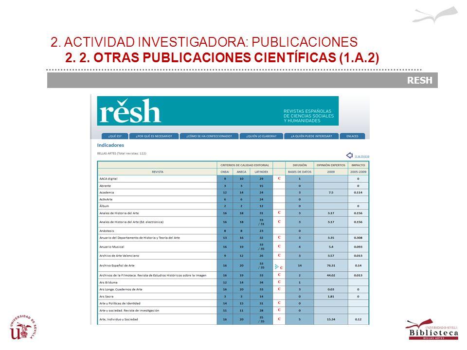 2. ACTIVIDAD INVESTIGADORA: PUBLICACIONES 2. 2. OTRAS PUBLICACIONES CIENTÍFICAS (1.A.2) RESH