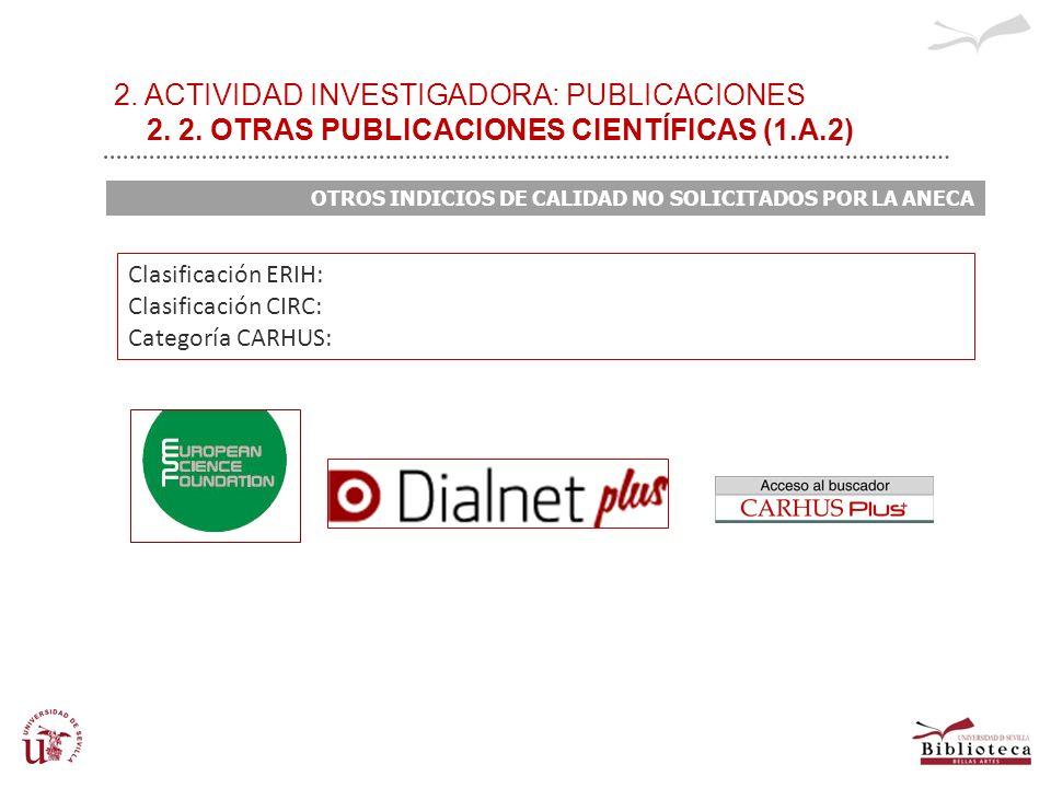 2. ACTIVIDAD INVESTIGADORA: PUBLICACIONES 2. 2. OTRAS PUBLICACIONES CIENTÍFICAS (1.A.2) OTROS INDICIOS DE CALIDAD NO SOLICITADOS POR LA ANECA Clasific