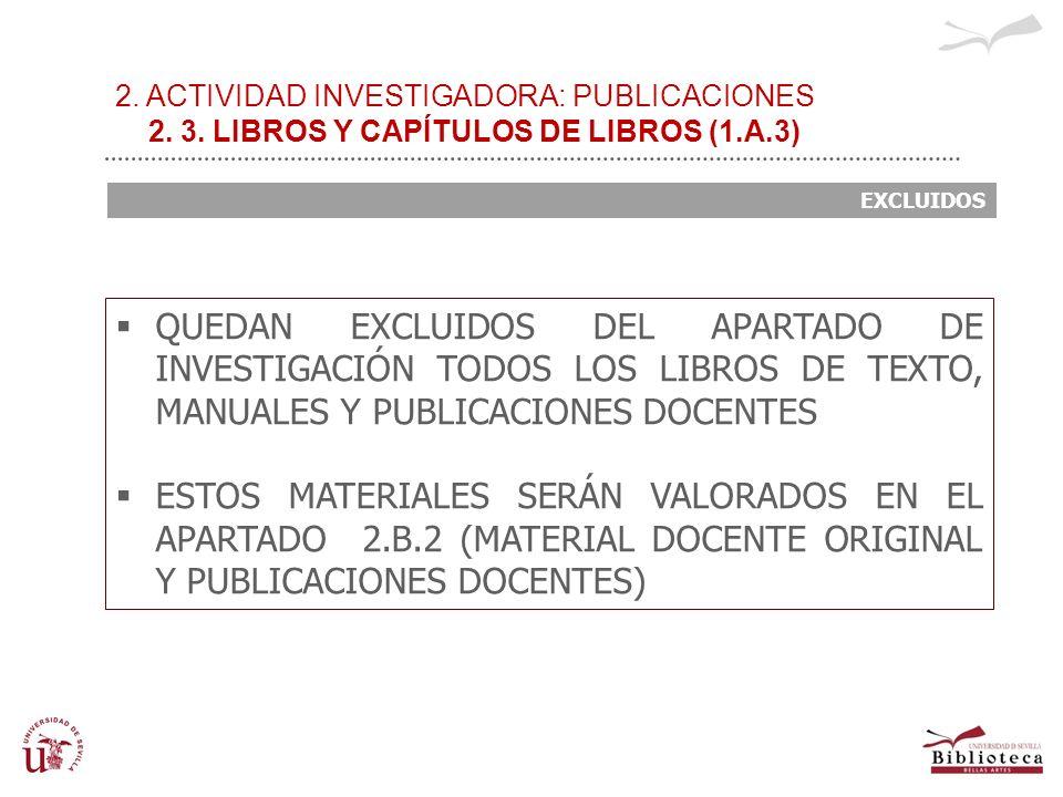 2. ACTIVIDAD INVESTIGADORA: PUBLICACIONES 2. 3. LIBROS Y CAPÍTULOS DE LIBROS (1.A.3) EXCLUIDOS QUEDAN EXCLUIDOS DEL APARTADO DE INVESTIGACIÓN TODOS LO
