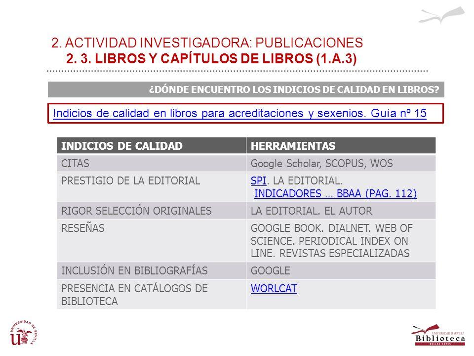 2. ACTIVIDAD INVESTIGADORA: PUBLICACIONES 2. 3. LIBROS Y CAPÍTULOS DE LIBROS (1.A.3) ¿DÓNDE ENCUENTRO LOS INDICIOS DE CALIDAD EN LIBROS? INDICIOS DE C