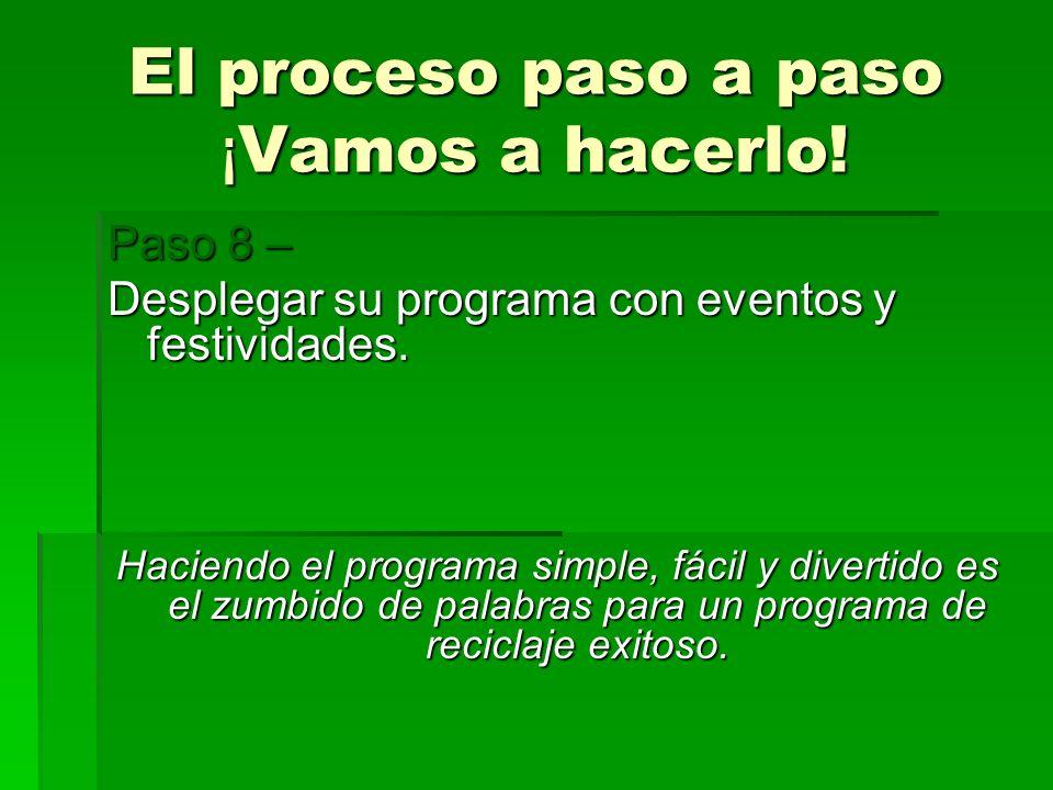 El proceso paso a paso ¡ Vamos a hacerlo! Paso 8 – Desplegar su programa con eventos y festividades. Haciendo el programa simple, fácil y divertido es