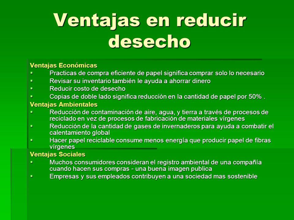 Ventajas en reducir desecho Ventajas Económicas Practicas de compra eficiente de papel significa comprar solo lo necesario Practicas de compra eficien
