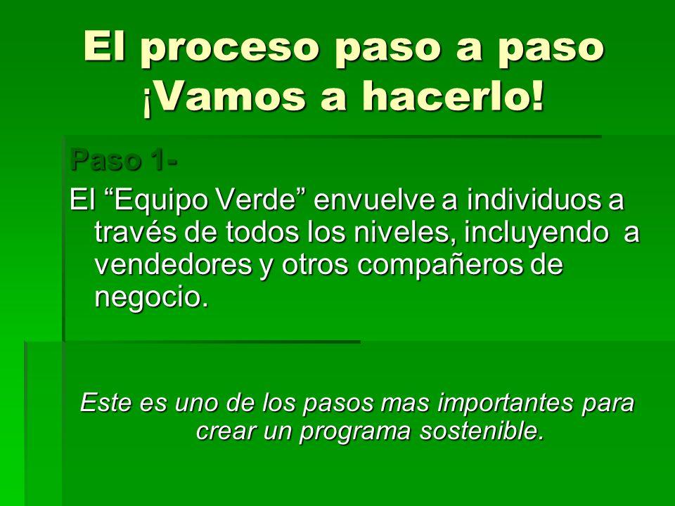 El proceso paso a paso ¡ Vamos a hacerlo! Paso 1- El Equipo Verde envuelve a individuos a través de todos los niveles, incluyendo a vendedores y otros