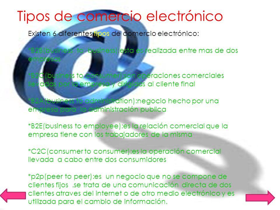 Tipos de comercio electrónico Existen 6 diferentes tipos de comercio electrónico: *B2B(business to business):esta es realizada entre mas de dos empres