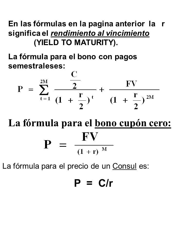 En las fórmulas en la pagina anterior la r significa el rendimiento al vincimiento (YIELD TO MATURITY).