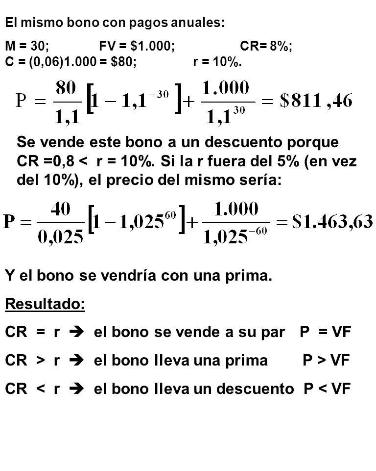 Se vende este bono a un descuento porque CR =0,8 < r = 10%.