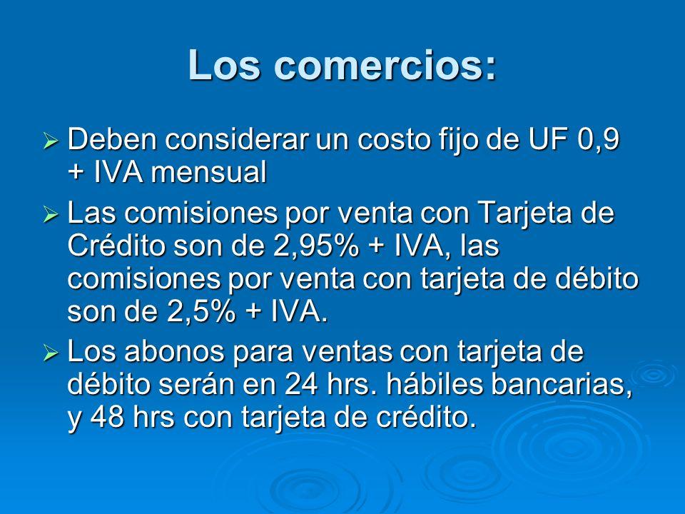 Los comercios: Deben considerar un costo fijo de UF 0,9 + IVA mensual Deben considerar un costo fijo de UF 0,9 + IVA mensual Las comisiones por venta