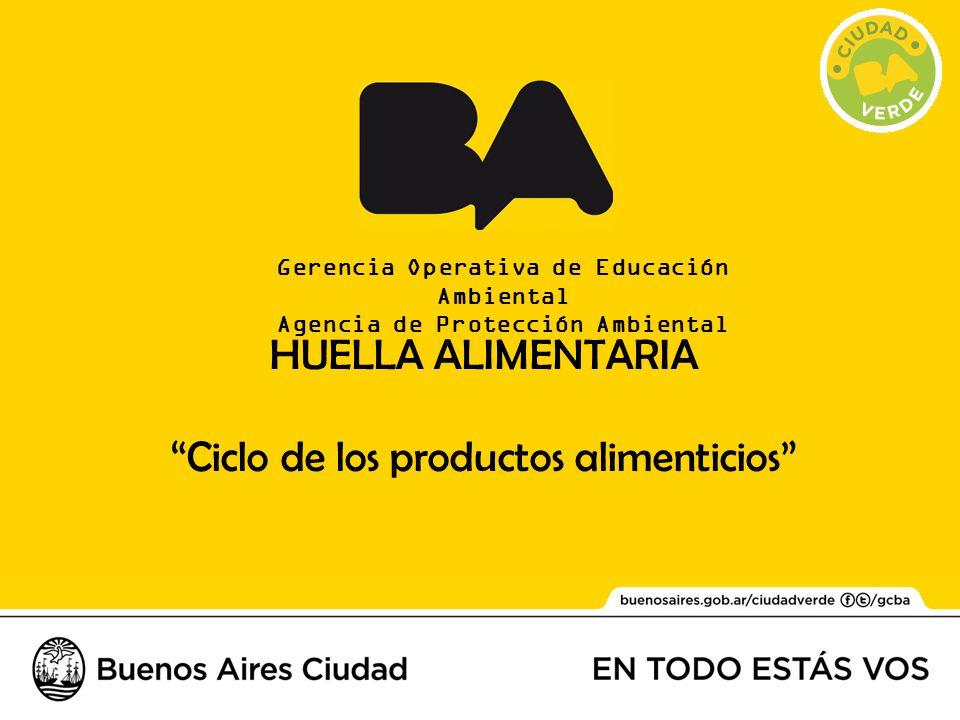 Gerencia Operativa de Educación Ambiental Agencia de Protección Ambiental HUELLA ALIMENTARIA Ciclo de los productos alimenticios