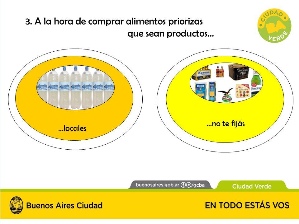 3. A la hora de comprar alimentos priorizas que sean productos… …locales …no te fijás