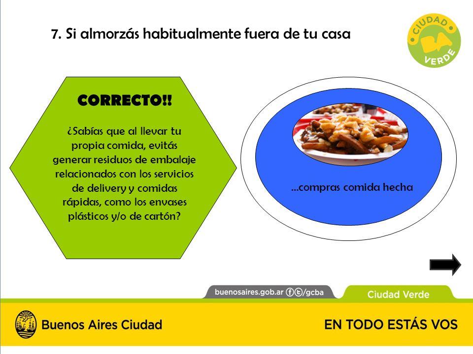 ¿Sabías que… CORRECTO!! ¿Sabías que al llevar tu propia comida, evitás generar residuos de embalaje relacionados con los servicios de delivery y comid