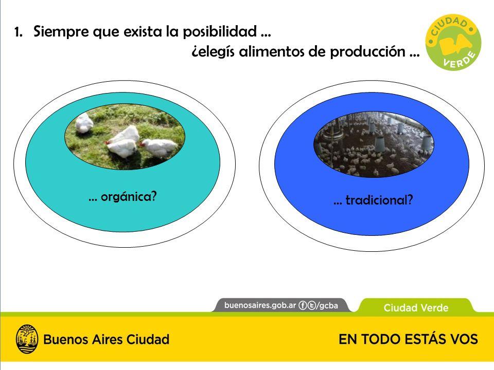 1.Siempre que exista la posibilidad … ¿elegís alimentos de producción … … orgánica? … tradicional?