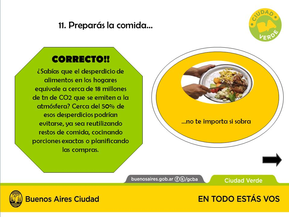 CORRECTO!! ¿Sabías que el desperdicio de alimentos en los hogares equivale a cerca de 18 millones de tn de CO2 que se emiten a la atmósfera? Cerca del