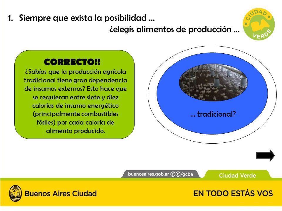 CORRECTO!! … tradicional? ¿Sabías que la producción agrícola tradicional tiene gran dependencia de insumos externos? Esto hace que se requieran entre