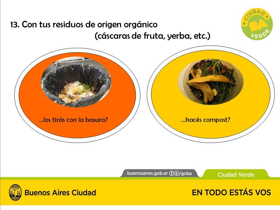 13. Con tus residuos de origen orgánico (cáscaras de fruta, yerba, etc.) …hacés compost?…los tirás con la basura?