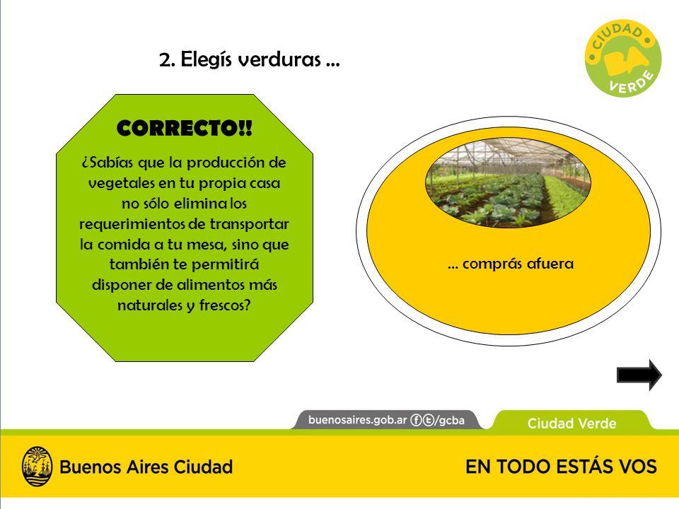 CORRECTO!! ¿Sabías que la producción de vegetales en tu propia casa no sólo elimina los requerimientos de transportar la comida a tu mesa, sino que ta