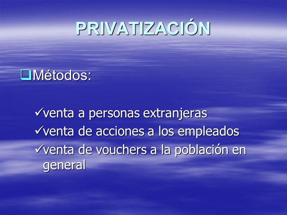 PRIVATIZACIÓN Métodos: Métodos: venta a personas extranjeras venta a personas extranjeras venta de acciones a los empleados venta de acciones a los em