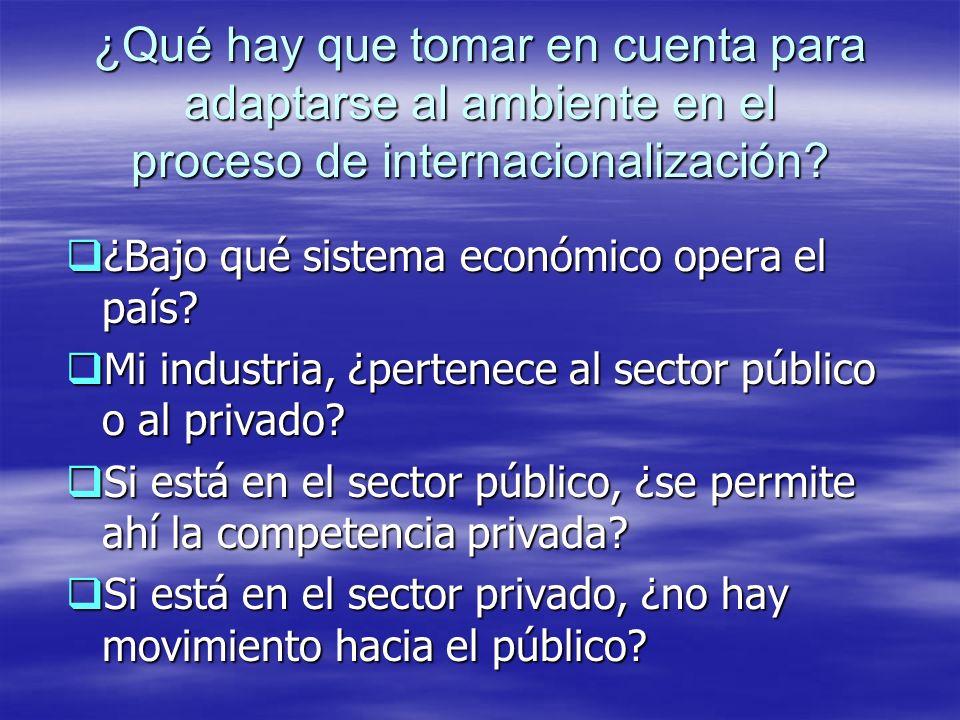 ¿Qué hay que tomar en cuenta para adaptarse al ambiente en el proceso de internacionalización? ¿Bajo qué sistema económico opera el país? ¿Bajo qué si