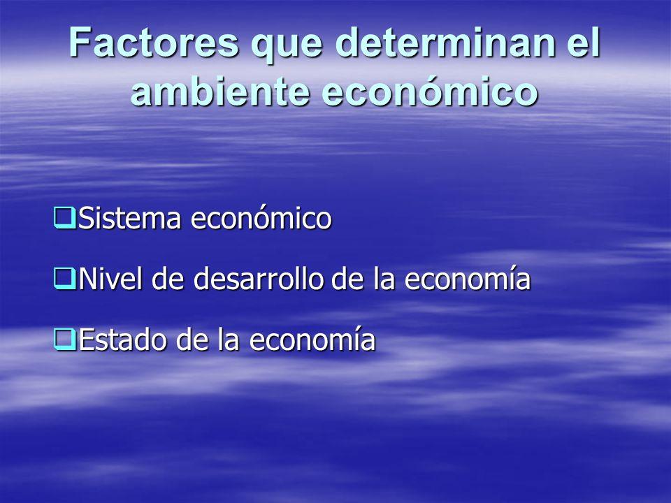 Factores que determinan el ambiente económico Sistema económico Sistema económico Nivel de desarrollo de la economía Nivel de desarrollo de la economí