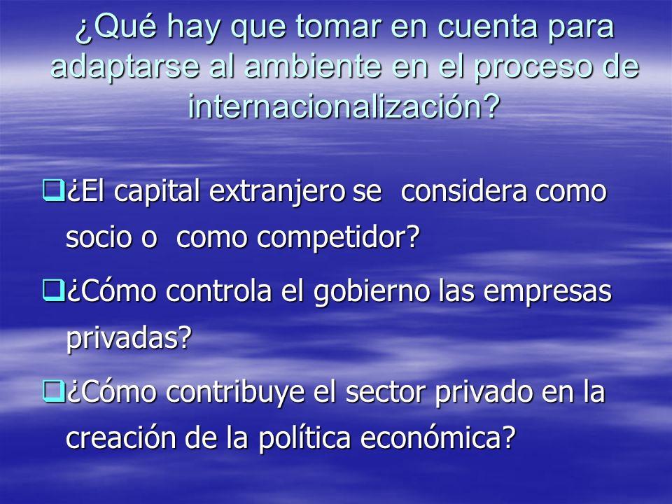 ¿Qué hay que tomar en cuenta para adaptarse al ambiente en el proceso de internacionalización? ¿El capital extranjero se considera como socio o como c